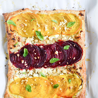 Beet, Goat Cheese and Honey Tarts.