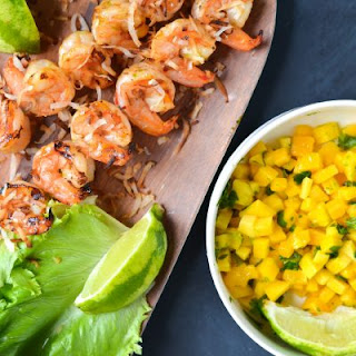 Grilled Shrimp Lettuce Wraps with Sweet Chili Sauce, Mango, and Toasted Coconut.