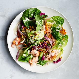 Baby Romaine and Hot Smoked Salmon Salad.