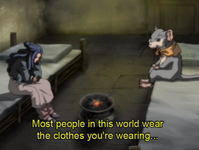 "Rakushun and Shoukei sit in a sparse room on separate beds. Subtitles read ""Most people in this world wear the clothes you're wearing..."""