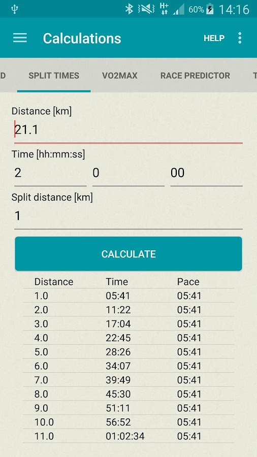Running calculator- screenshot