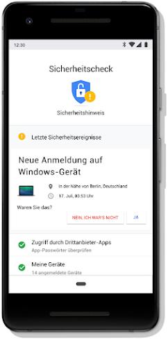 Bildschirm mit dem Sicherheitscheck für ein Google-Konto auf einem Mobiltelefon