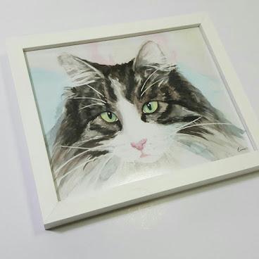 裝飾畫~貓貓手繪系列 Framed print
