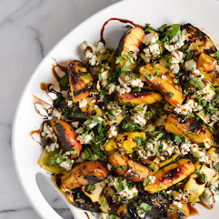 Grilled Summer Squash and Peaches with Blue Cheese and Herbs Recipe