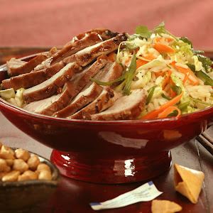 Char Shui Style BBQ Pork Tenderloin with Rice and Cabbage Salad