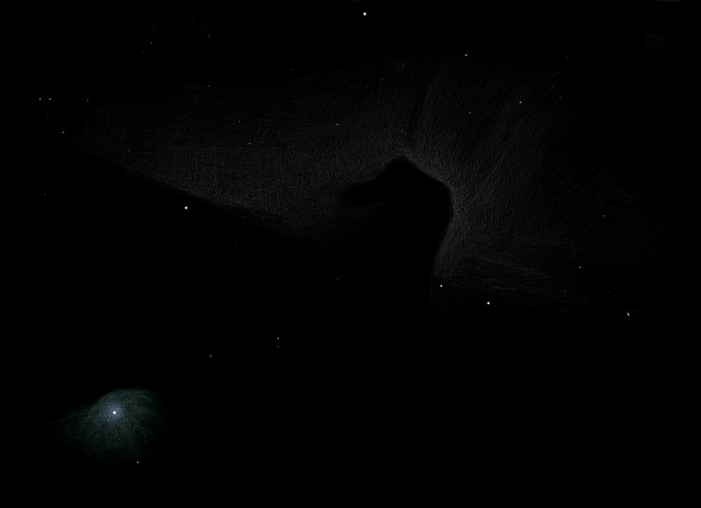 Photo: La nébuleuse obscure de la tête de cheval (B33). Le 18/02/2012 à Puimichel au T406 à 88X et filtre H-Beta.