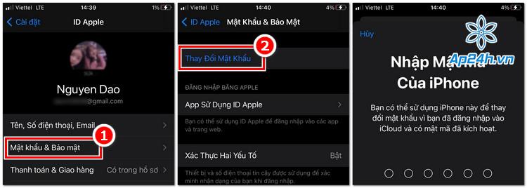 Thao tác đổi mật khẩu Apple ID trên iOS
