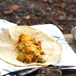 Campfire Breakfast Burritos.