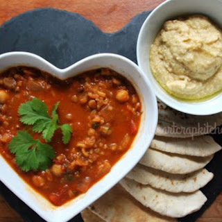 Harira Soup With Hummus Pitas [Vegan]