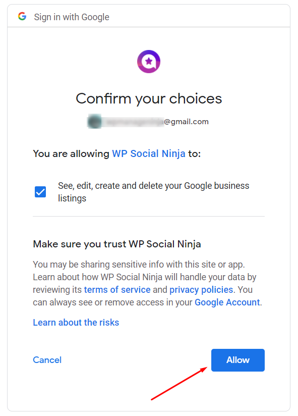WP Social Ninja Google configuration