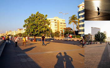 """Photo: Sunset time at Marine Drive near Nariman Point, Mumbai. What is your memory connected to this romantic avenue? I have two memories; the first one tracks back in 2001 during my visit and stay in India for the first time. I sat by the bank and hummed a Japanese song """"Yashi no Mi (A Palm Fruit; http://www.youtube.com/watch?v=zxT7q-AfJy8)"""", looking at the setting sun on the Arabian Sea and thinking of how far I came. Second one comes from this January. We walked here with my mother visited us from Japan, and that was the moment our long awaited dream came true. Clockwise from right: a crow enjoying sun bath; a building ahead is Air India's symbolic former headquarters (this year the company shifted the headquarters to Delhi, reference: http://articles.economictimes.indiatimes.com/2013-02-15/news/37100980_1_air-india-nariman-point-moves-headquarters); Everyone likes the place. I love Mumbai. 21st September updated (日本語はこちら) -http://jp.asksiddhi.in/daily_detail.php?id=308"""