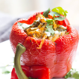 Buffalo Ranch Chicken Stuffed Peppers