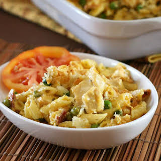 Chicken Pasta Casserole With Cheddar Cheese and Bacon.
