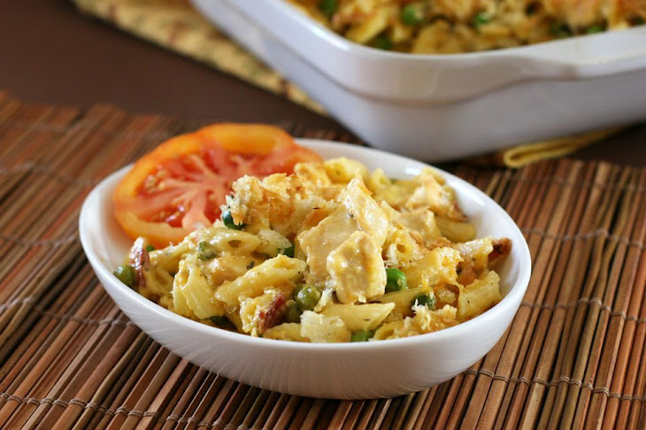 Chicken Pasta Casserole with Cheddar Cheese and Bacon Recipe