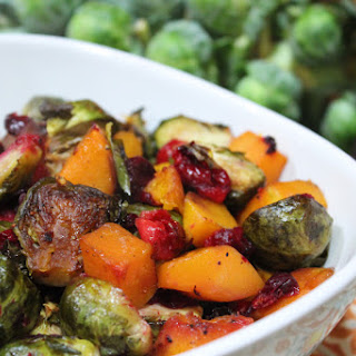 Maple Roasted Butternut Squash, Brussel Sprouts & Cranberries.