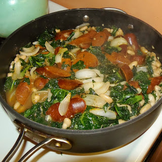 Greens, Beans and Andouille Pan Stew