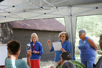 Photo: Dalia & Alisa and Sandy stump the Mifgashers with great camp trivia questions!