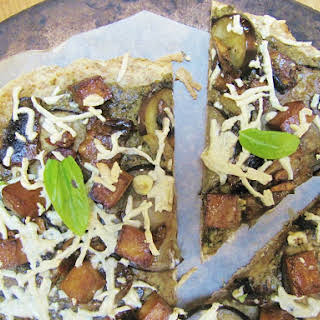 Eggplant, Pesto, and Mushroom Pizza with Tofu.