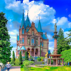 Gwenn and Gunnar Approach the Castle by Elk Baiter - Buildings & Architecture Public & Historical ( clouds, statue, stags, castle, germany, statuary, garden, drachenburg,  )