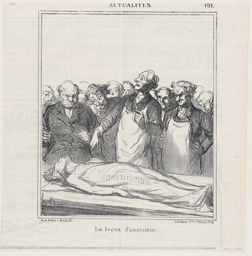 An anatomy lesson, from 'News of the day,' published in Le Charivari, August 21, 1869