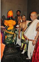 Photo: Temple president Mouli Subramanian, Ramesh Natarajan and Thangarathna Bhattar