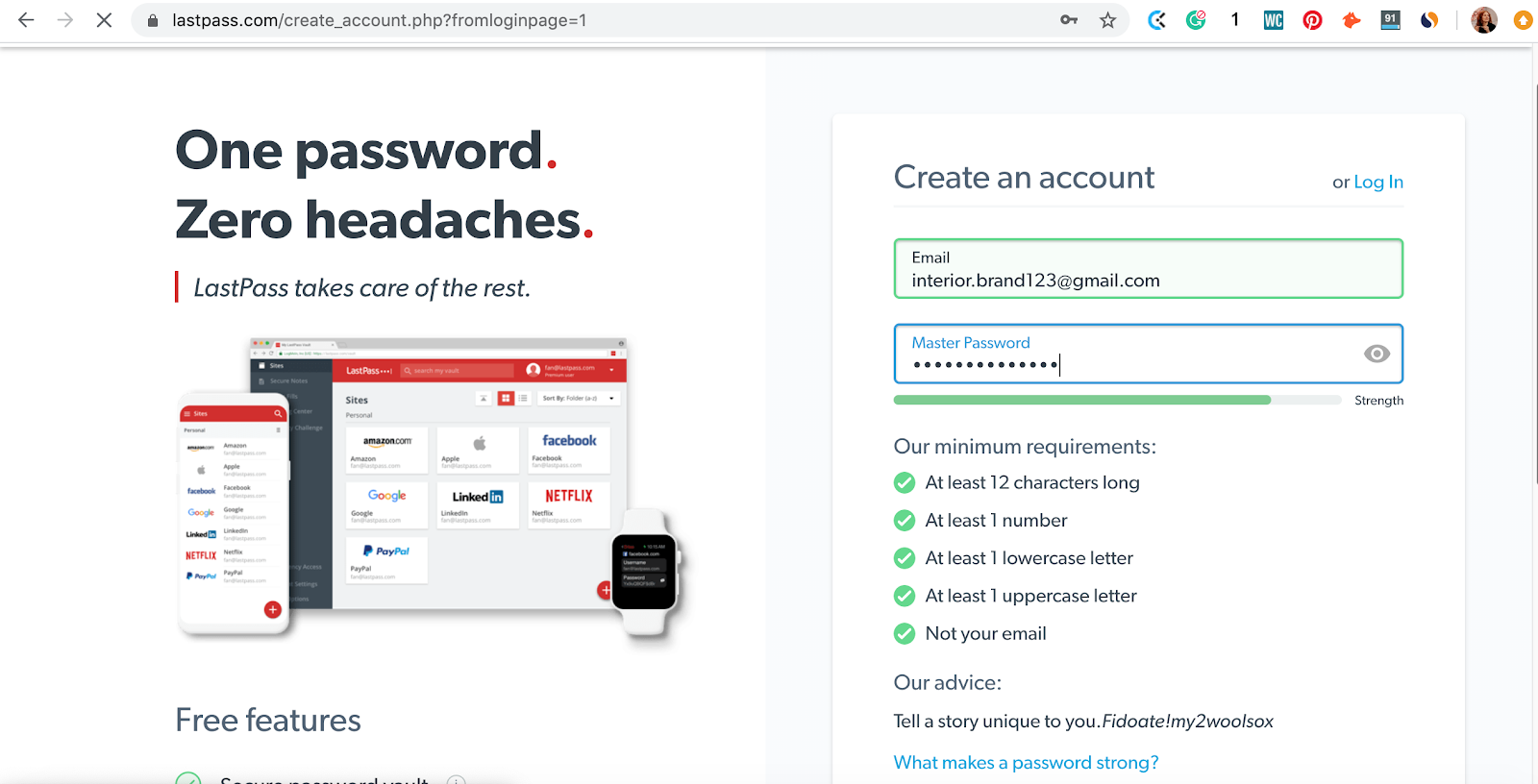 How to select secure master password on LastPass password manager app. Part of the article by Hana Clode Marketing 'LastPass Password Manager - Apps to Make Your Life Easier'.