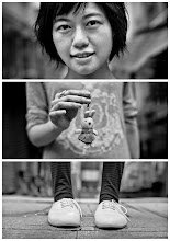 Photo: Triptychs of Strangers #27, The warm-hearted Giver - Hong Kong  About this shot On my last day in Hong Kong. I had a time slot to roam in Soho (Hong Kong Island). So I decided to seize the opportunity and bring the project to the city.  I looked for a spot and waited for our stranger to come. It took me a while to convince her that this project doesn't aim to portray models. You might know I always try looking for all sorts of interesting characters and I thought she is one of those and I was not disappointed after our session of approximately 30 minutes. But decide for yourself …  About this stranger Meet, Jessie. Who is in her thirties and has been working as an accountant for about ten years. She likes her job but hates those periods when work piles up and there is basically no time for the things she likes the most.  Like doing handcrafted plush toys (like the rabbit in the middle). She has being doing this for ages and seems to be genius with her sewing machine.  Like taken photographs. Sounds familiar :-)  Like traveling. She has visited a few of the most desirable mega cities in asia ... Tokyo, Seoul or Taipei. Her first stop in Europe would be Paris - how come I was not surprised by this?  Where ever she stopped while traveling so far she has been always looking out for a locality referred as Cat Cafe. Imagine your favorite cafe around the corner to be packed with playing, purring and cuddling cats. I had never heard of such a place and I listened to her stories with big eyes. I can't deny I was under the impression she has a weakness for cats ;-)  Even though she doesn't own a cat herself. But her friends do …  If you are a friend of Jessie's and own a cat you might see her more often than necessary. And you would also have to get used to see her behind a lens most of the time. Yes, you might not always be the centre of universe while she visits you. But as long as you have a great selection of those handcrafted plush toys you can be sure of one thin