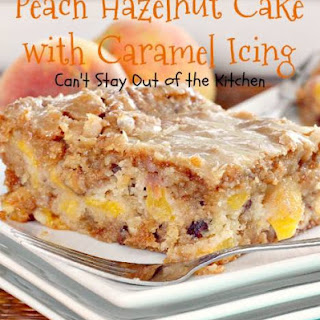 Peach Hazelnut Cake with Caramel Icing