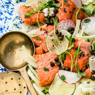 Slow Cooked Salmon with Fresh Oregano Fennel Salad