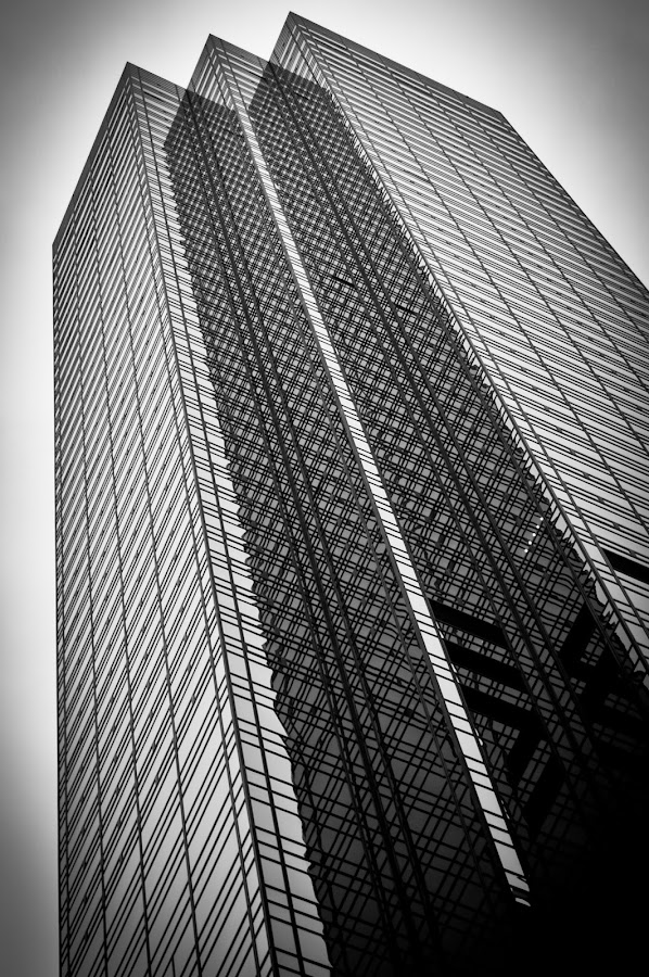Skyscraper by Kennan Zhong - Black & White Buildings & Architecture ( abstract, building, pattern, skyscraper, black and white, new york, new york city, ny,  )