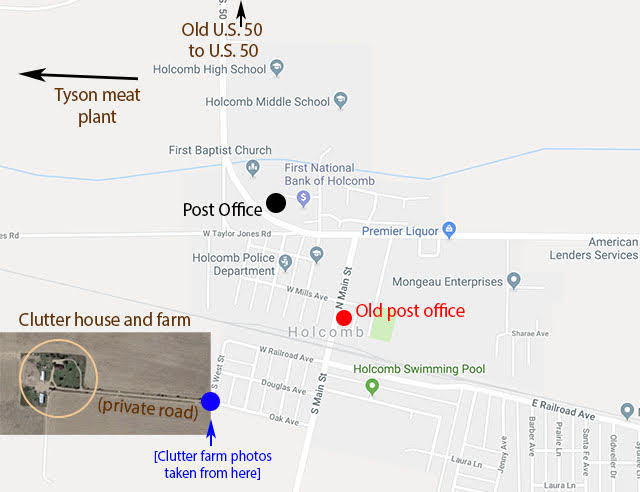 Holcomb, KS map with Clutter farm and post offices