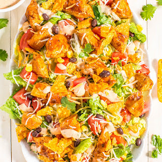 Loaded Chicken Taco Salad with Creamy Lime-Cilantro Dressing Recipe