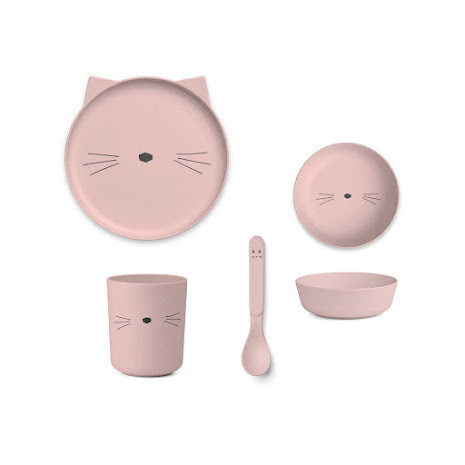Bambu Middags Set Cat rose blush