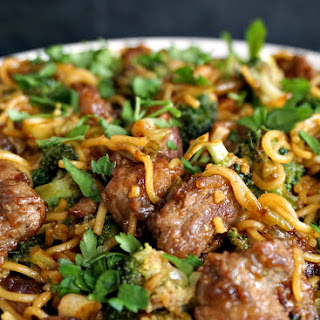 Super Tender Beef With Broccoli Noodle Stir Fry.