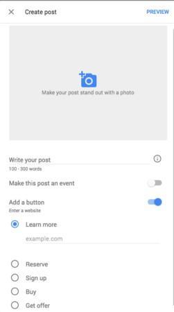 how to create google posts screen