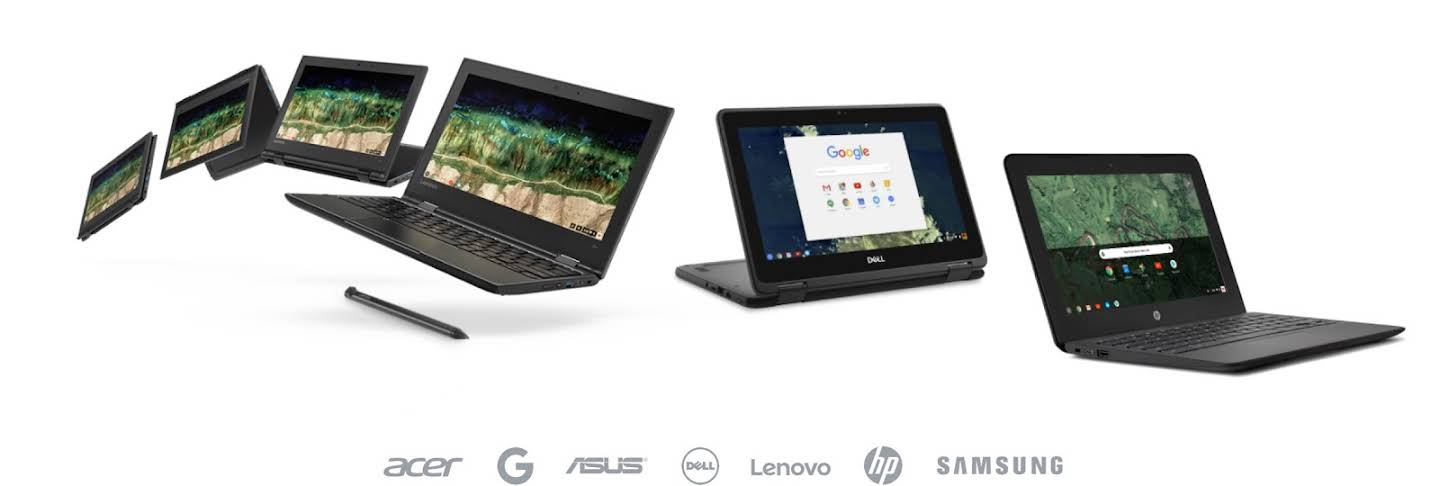 Showing a variety of six Chromebook devices floating in an arch with one stylus shown.