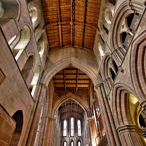 Abbey by BethSheba Ashe - Buildings & Architecture Architectural Detail ( christian, detail, arch, church, northumberland, stone, pwcdetails, windows, england, red, ceiling, oak, hexham, arches, architectural, light, abbey )