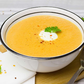 Slow Cooker Spiced Carrot and Lentil Soup.