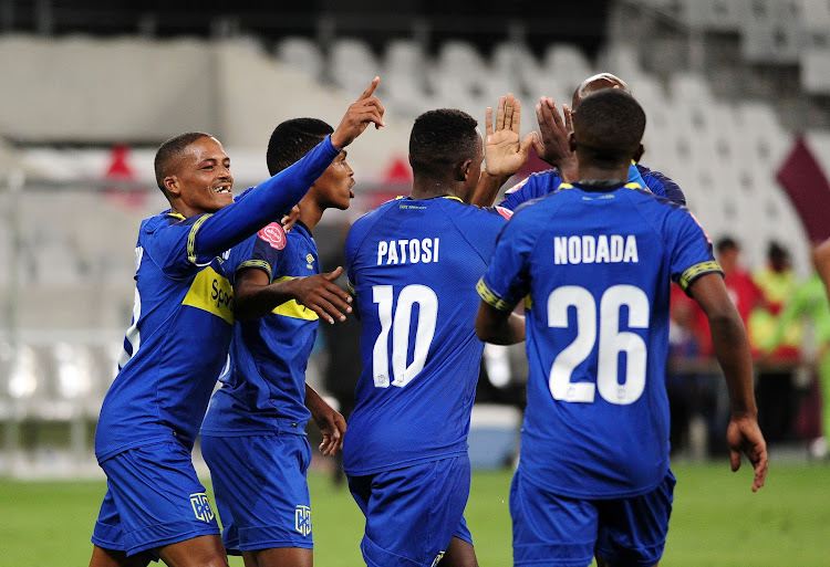 Cape Town City forward Ayanda Patosi celebrates with teammates after scoring City's opening goal in a thrilling 2-2 Absa Premiership draw against Baroka FC at home at the Cape Town Stadium on January 12 2019.
