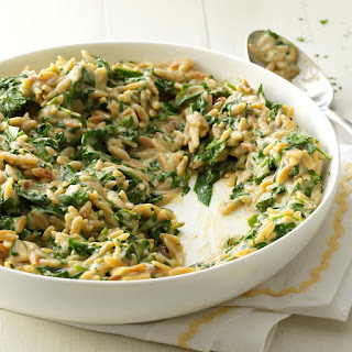 Creamy Roasted Garlic & Spinach Orzo.