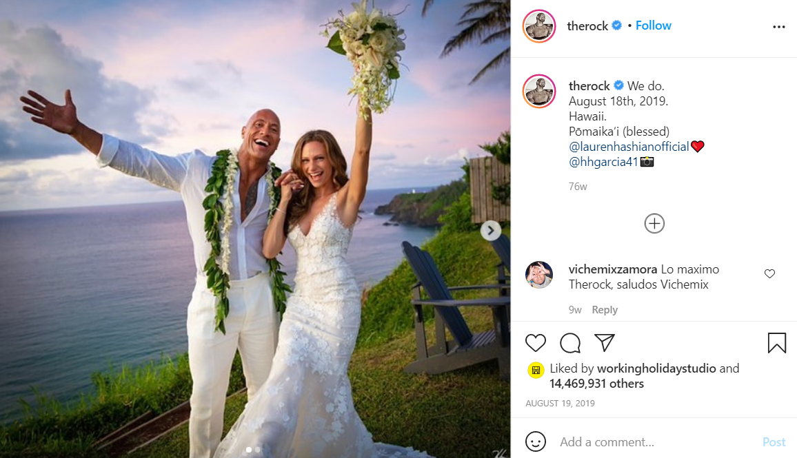 The Rock's most liked Instagram post