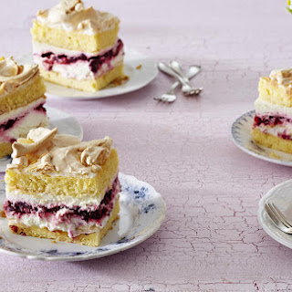 Raspberry Cream Meringue Cake.