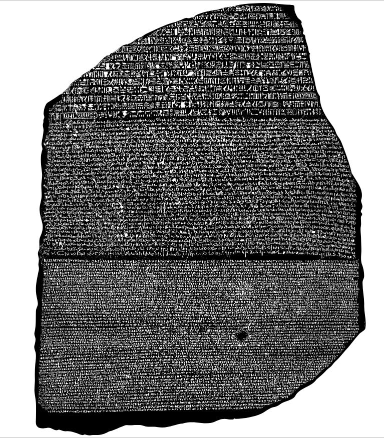 The Rosetta stone, a large carved stone face with writing in three ancient languages.