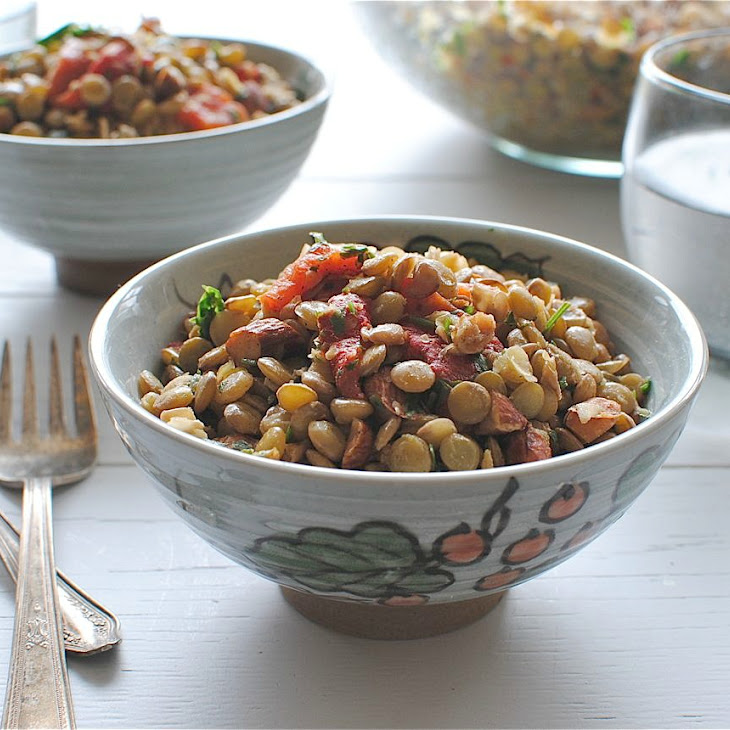 Lentil Salad with Roasted Red Peppers, Parsley and Almonds