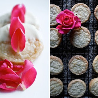 Cardamom-Vanilla Shortbread with White Chocolate and Rose Petals.