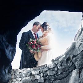 Warm snowy day embrace by Sandra Clukey - Wedding Bride & Groom ( wedding photography, weddings, wedding, snowy wedding day, bride and groom,  )