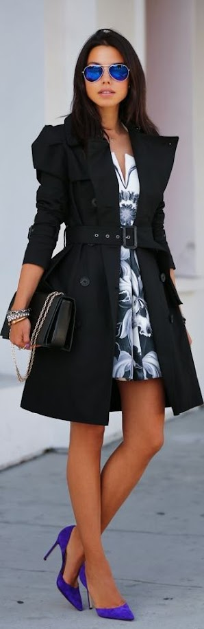 Romantic outfit with black coat, floral dress and violet pumps for Clear Winter women
