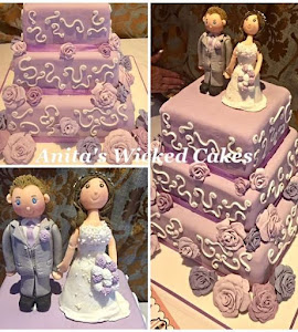 Lilac and white 3 tiered square wedding cake