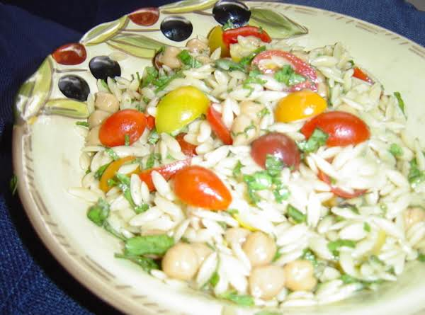 Orzo And Garbanzo Bean Salad With Basil And Mint