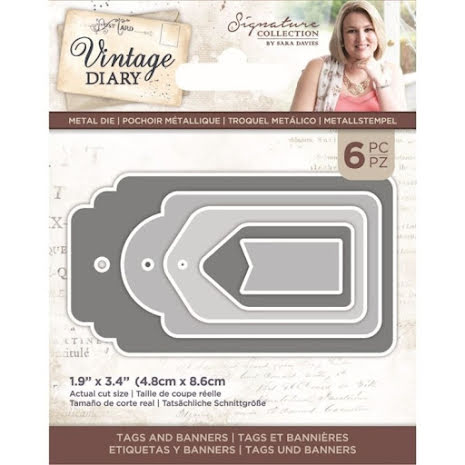 Sara Davies Vintage Diary Dies - Tags and Banners